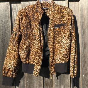 MEMBERS ONLY Leopard Animal Print Bomber Jacket